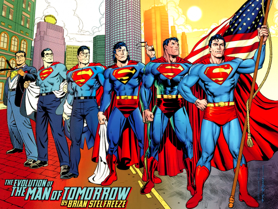 the evolution of the man of tomorrow by brian stelfreeze 570x429 Did Superman REALLY Renounce His American Citizenship?