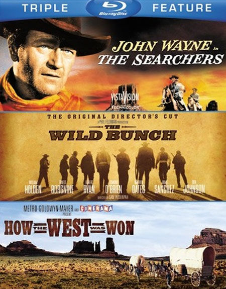The Searchers, The Wild Bunch, How the West was Won Triple Feature Blu-ray Cover