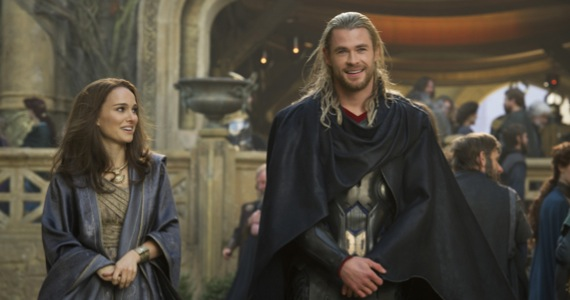 Natalie Portman and Chris Hemsworth in Thor: The Dark World