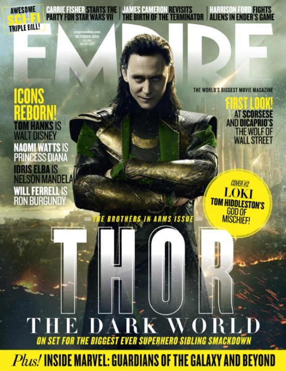 thor dark world magazine cover hiddleston 570x739 Thor: The Dark World Loki Cover #1