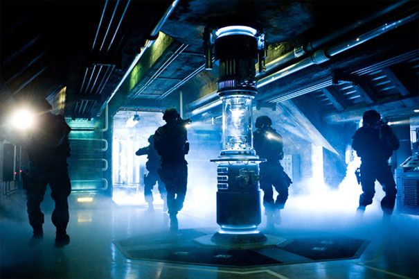 Soldiers invade a bunker in Transformers 2