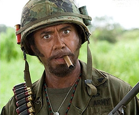 tropic thunder RDJ Iconic Moment In Cinema: Downey & Rourke in Iron Man 2