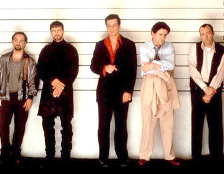 Kevin Pollak, Stephen Baldwin, Benicio Del Toro, Gabriel Byrne & Kevin Spacey as Todd Hockney, Michael McManus, Fred Fenster, Dean Keaton & Roger Kent in The Usual Suspects