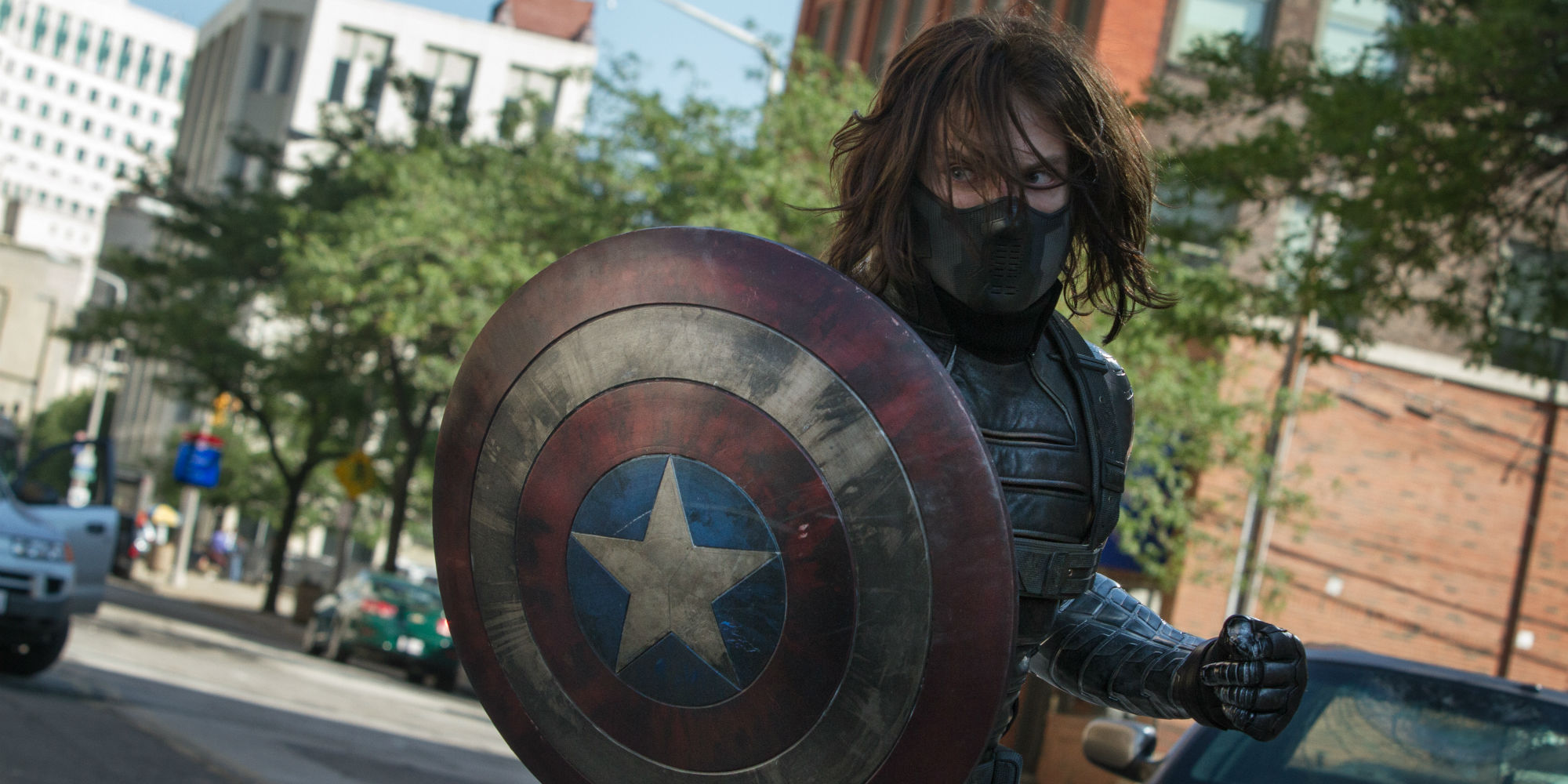 Winter Soldier holding Captain America's shield