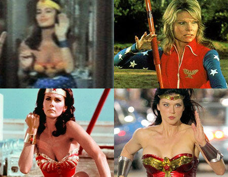 Ellie Wood Walker, Cathy Lee Crosby, Lynda Carter and Adrianna Palcki as Wonder Woman